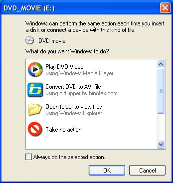 bitRipper appears in Windows XP autoplay menu
